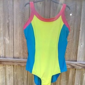 Juno Active 2X Blue Yellow Pink SwimSuit One Piece
